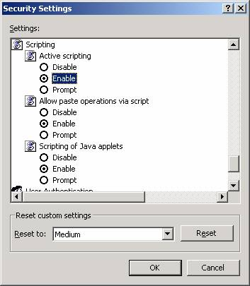 Security Settings for IE 7