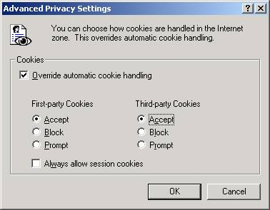 Advanced Privacy Settings for IE 7